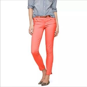 J. Crew Garment Dyed Toothpick Ankle Coral Size 28